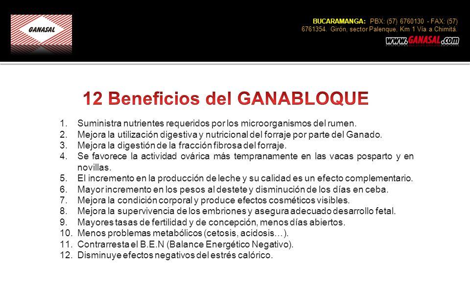 BUCARAMANGA: PBX: (57) 6760130 - FAX: (57) 6761354. Girón, sector Palenque, Km 1 Vía a Chimitá. 1.Suministra nutrientes requeridos por los microorgani