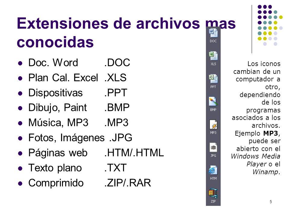 5 Extensiones de archivos mas conocidas Doc. Word.DOC Plan Cal. Excel.XLS Dispositivas.PPT Dibujo, Paint.BMP Música, MP3.MP3 Fotos, Imágenes.JPG Págin
