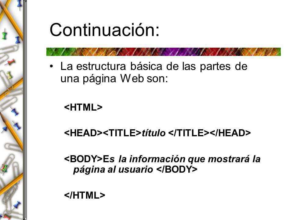 Continuación: Listas ordenadas ( ordered lists ) Utilizadas para mostrar información en un orden.