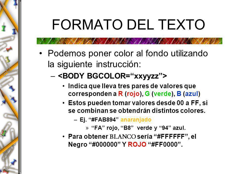 Continuación: Colores xx es un número indicativo de la cantidad de color rojo.