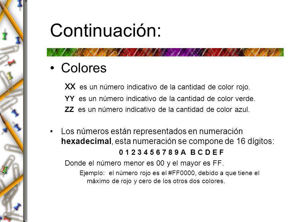 Continuación: Los colores primarios son: #FF0000rojo #00FF00verde #0000FFazul Otros colores son: #FFFFFFblanco #000000negro #FFFF00amarillo