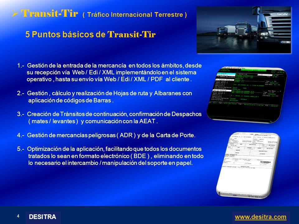 4 | Enterprise Resource Planning Systems, 04.03.10 Transit-Tir ( Tráfico Internacional Terrestre ) 5 Puntos básicos de Transit-Tir 1.- Gestión de la e