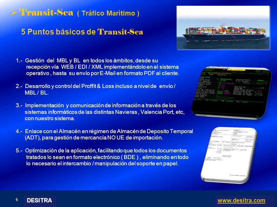 6 | Enterprise Resource Planning Systems, 04.03.10 Transit-Sea ( Tráfico Marítimo ) 5 Puntos básicos de Transit-Sea 1.- Gestión del MBL y BL en todos