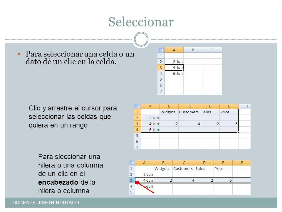 Seleccionar Para seleccionar una celda o un dato dé un clic en la celda. Clic y arrastre el cursor para seleccionar las celdas que quiera en un rango