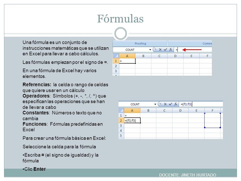 Fórmulas Una fórmula es un conjunto de instrucciones matemáticas que se utilizan en Excel para llevar a cabo cálculos. Las fórmulas empiezan por el si