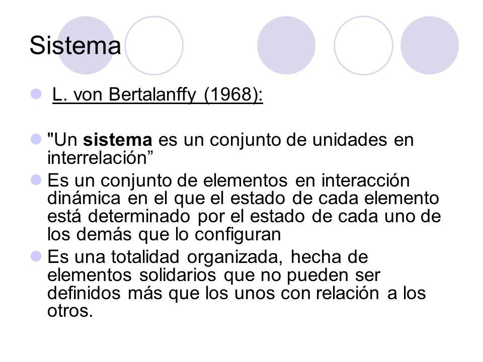 Sistema L. von Bertalanffy (1968):