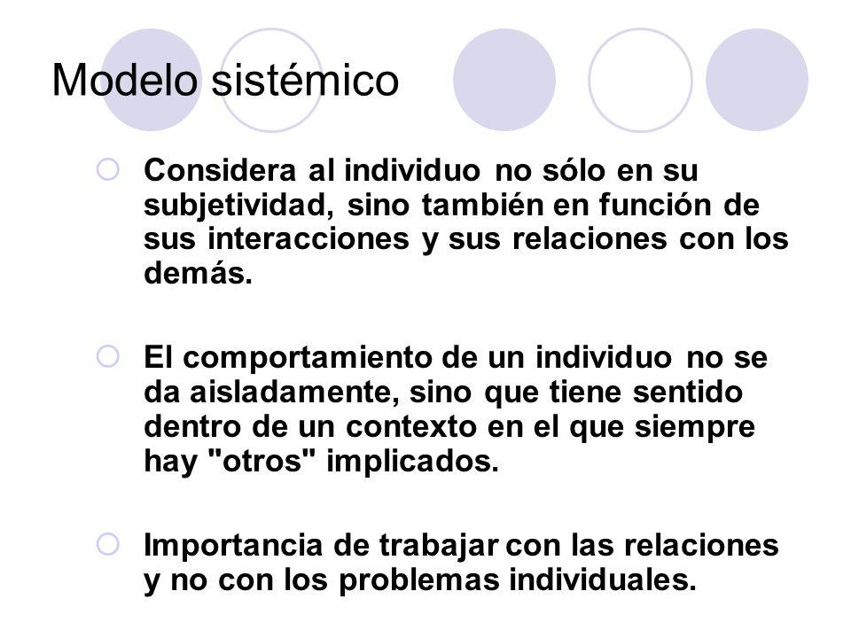 Modelo sistémico Considera al individuo no sólo en su subjetividad, sino también en función de sus interacciones y sus relaciones con los demás. El co