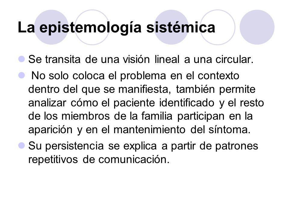 La epistemología sistémica Se transita de una visión lineal a una circular. No solo coloca el problema en el contexto dentro del que se manifiesta, ta