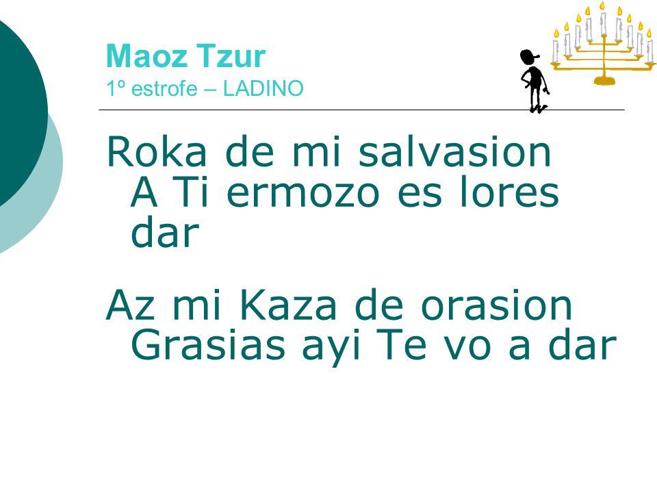 Maoz Tzur 1º estrofe – IVRIT Maoz tzur yeshuati Lecha naeh le-shabeach.