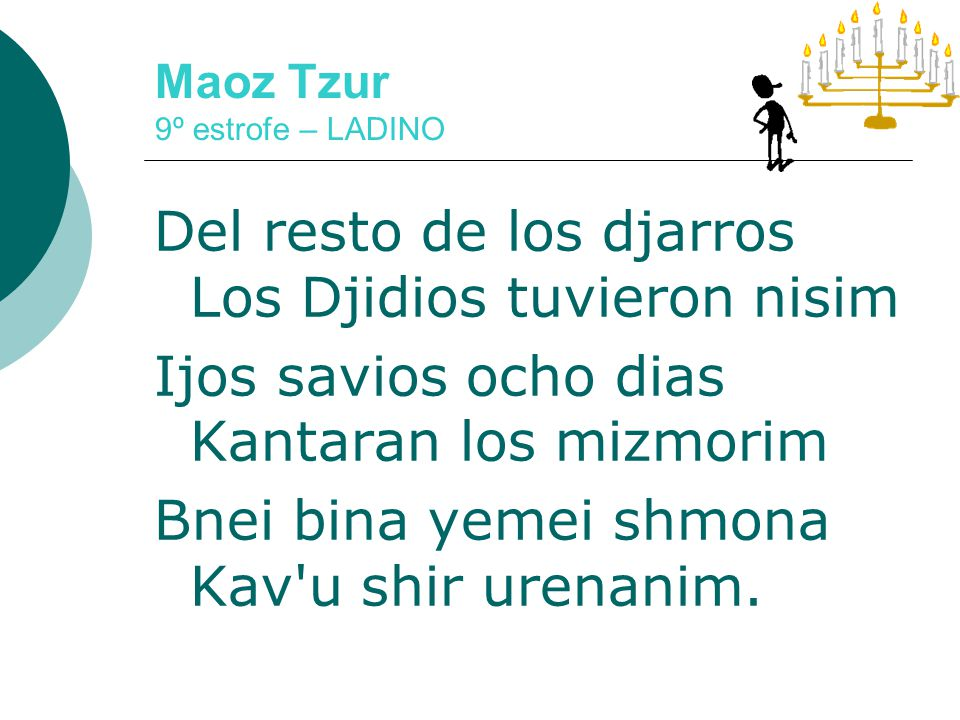 Maoz Tzur 9º estrofe – LADINO Gregos kontra mi s echaron En dias de los Hashmonaim I en mis torres penetraron Profanando los shemanim
