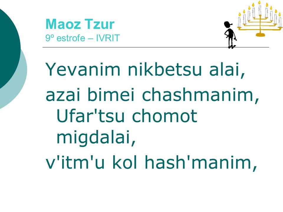 Maoz Tzur 9º estrofe – LADINO Del resto de los djarros Los Djidios tuvieron nisim Ijos savios ocho dias Kantaran los mizmorim Bnei bina yemei shmona Kav u shir urenanim.