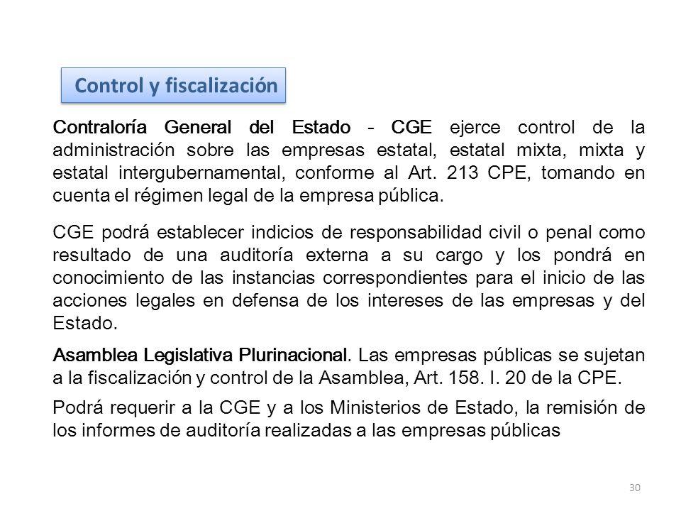 Contraloría General del Estado - CGE ejerce control de la administración sobre las empresas estatal, estatal mixta, mixta y estatal intergubernamental