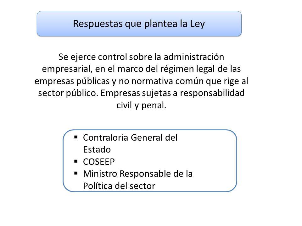 Respuestas que plantea la Ley Contraloría General del Estado COSEEP Ministro Responsable de la Política del sector Se ejerce control sobre la administ