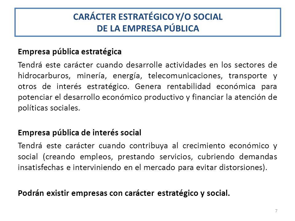 CARÁCTER ESTRATÉGICO Y/O SOCIAL DE LA EMPRESA PÚBLICA Empresa pública estratégica Tendrá este carácter cuando desarrolle actividades en los sectores d