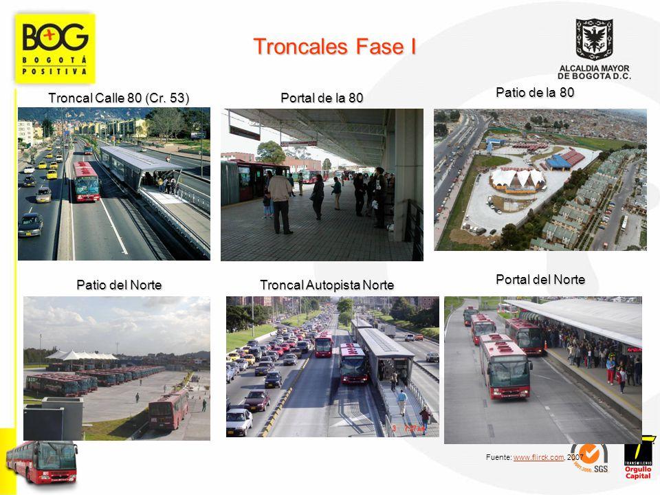 Troncales Fase I Troncal Calle 80 (Cr. 53) Portal de la 80 Patio de la 80 Patio del Norte Troncal Autopista Norte Portal del Norte Fuente: www.flirck.
