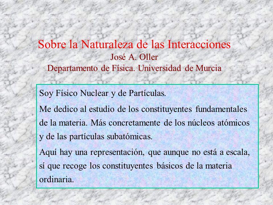 José A. Oller Departamento de Física. Universidad de Murcia Sobre la Naturaleza de las Interacciones José A. Oller Departamento de Física. Universidad