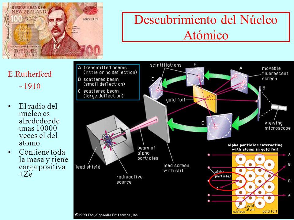 Descubrimiento del Núcleo Atómico E.Rutherford ~1910 El radio del núcleo es alrededor de unas 10000 veces el del átomo Contiene toda la masa y tiene c