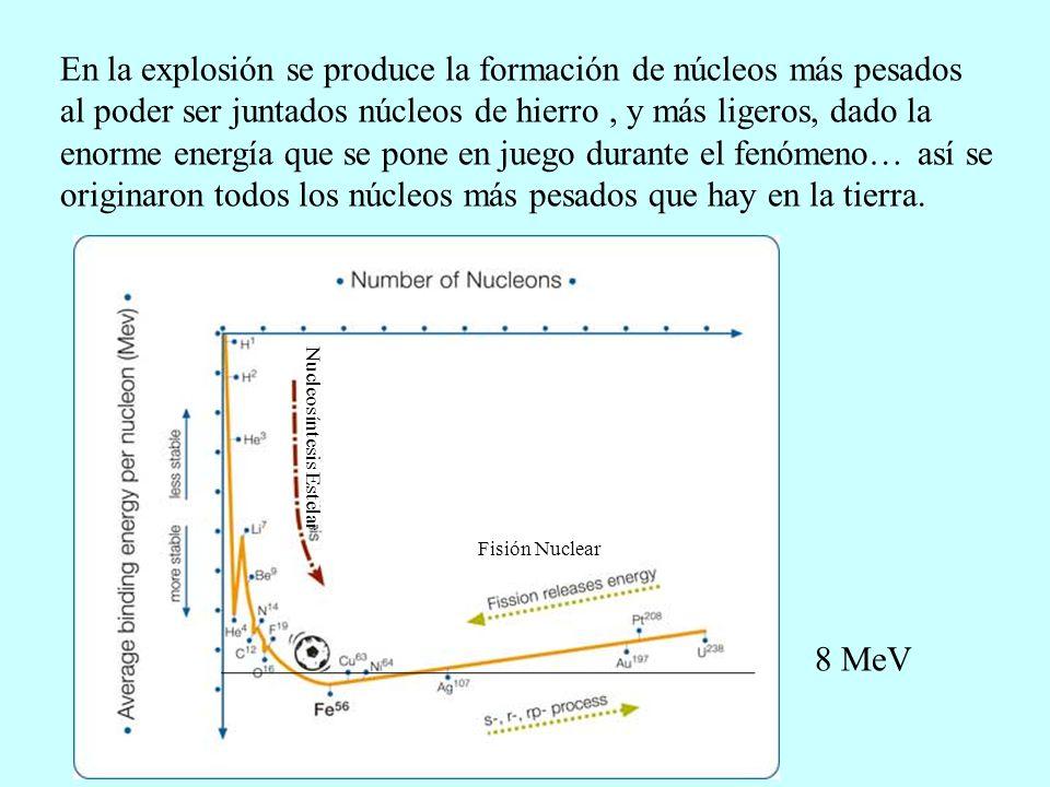 En la explosión se produce la formación de núcleos más pesados al poder ser juntados núcleos de hierro, y más ligeros, dado la enorme energía que se p