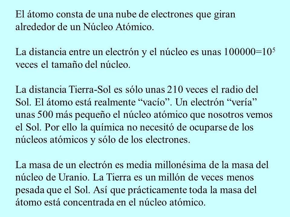 El átomo consta de una nube de electrones que giran alrededor de un Núcleo Atómico. La distancia entre un electrón y el núcleo es unas 100000=10 5 vec