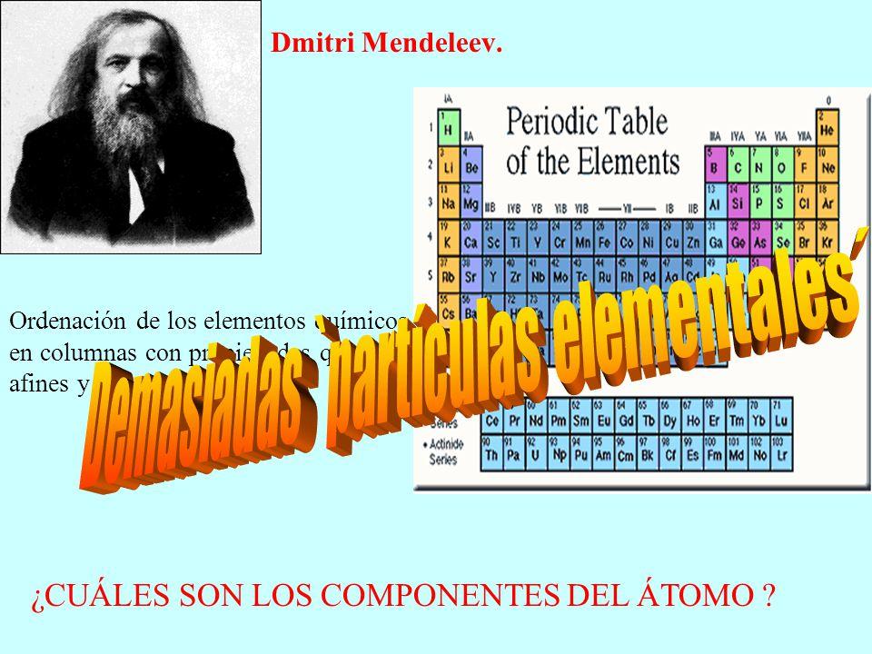 Dmitri Mendeleev. Ordenación de los elementos químicos en columnas con propiedades químicas afines y con masa creciente. ¿CUÁLES SON LOS COMPONENTES D