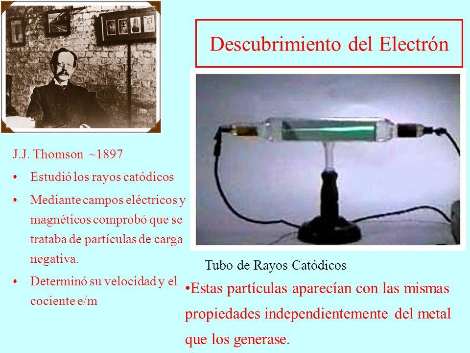 Descubrimiento del Electrón J.J. Thomson ~1897 Estudió los rayos catódicos Mediante campos eléctricos y magnéticos comprobó que se trataba de partícul