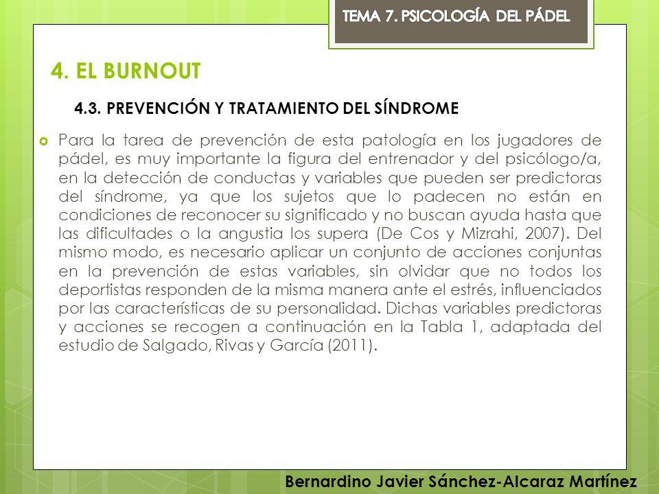 4. EL BURNOUT Para la tarea de prevención de esta patología en los jugadores de pádel, es muy importante la figura del entrenador y del psicólogo/a, e