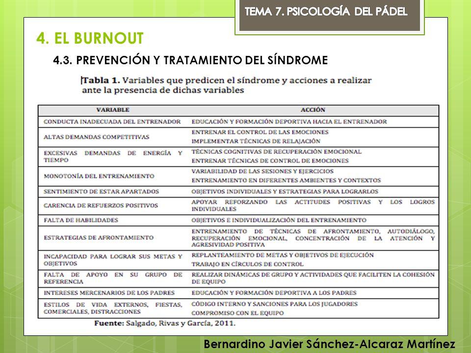 4. EL BURNOUT Bernardino Javier Sánchez-Alcaraz Martínez 4.3. PREVENCIÓN Y TRATAMIENTO DEL SÍNDROME