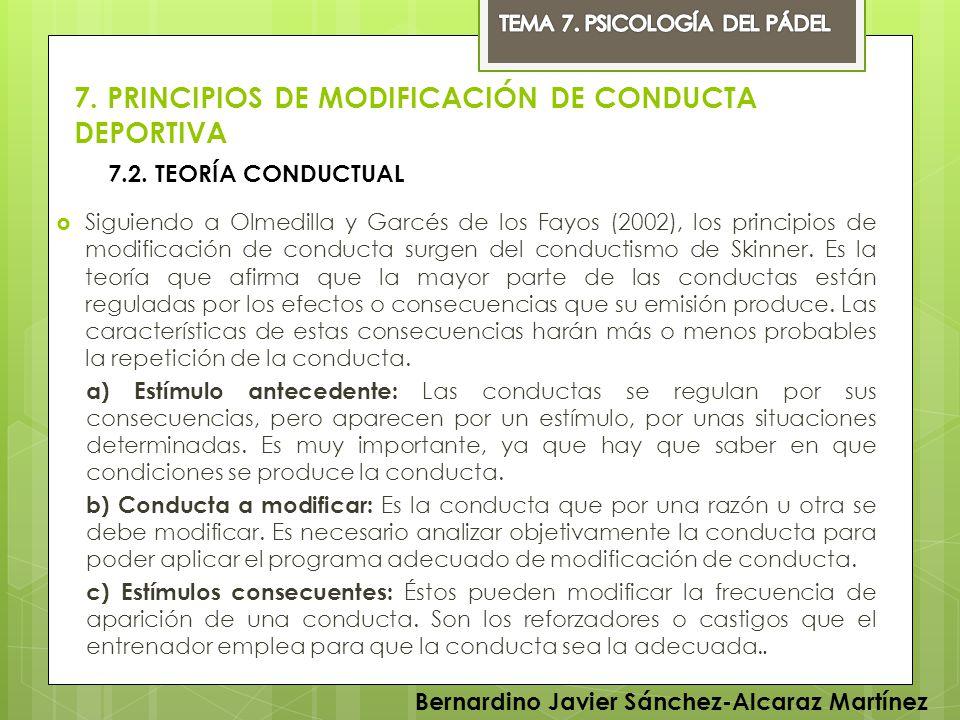 7. PRINCIPIOS DE MODIFICACIÓN DE CONDUCTA DEPORTIVA Siguiendo a Olmedilla y Garcés de los Fayos (2002), los principios de modificación de conducta sur