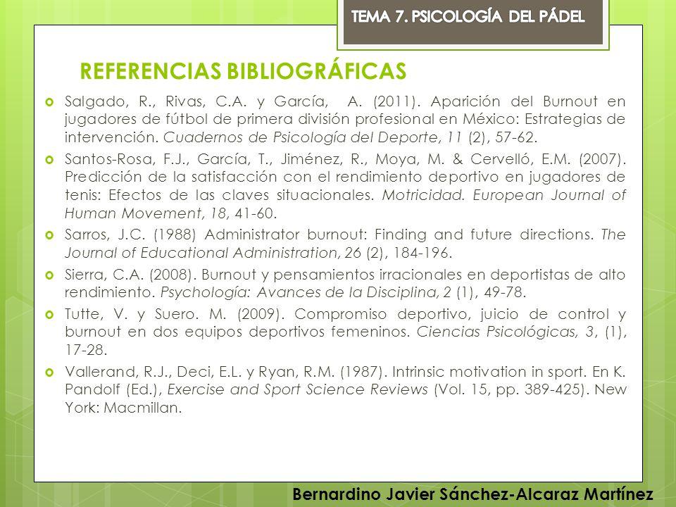 REFERENCIAS BIBLIOGRÁFICAS Salgado, R., Rivas, C.A. y García, A. (2011). Aparición del Burnout en jugadores de fútbol de primera división profesional