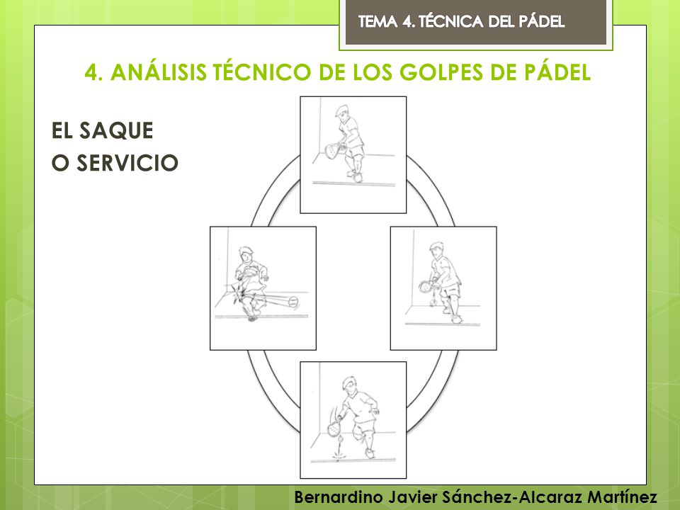 4. ANÁLISIS TÉCNICO DE LOS GOLPES DE PÁDEL EL SAQUE O SERVICIO Bernardino Javier Sánchez-Alcaraz Martínez