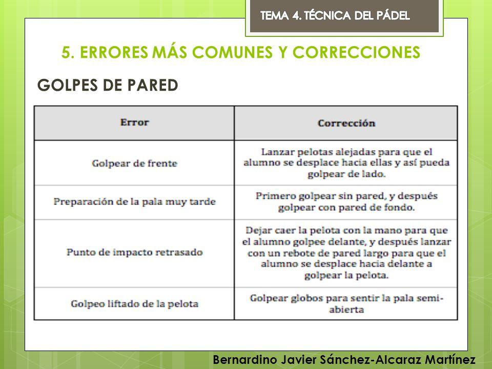 5. ERRORES MÁS COMUNES Y CORRECCIONES GOLPES DE PARED Bernardino Javier Sánchez-Alcaraz Martínez