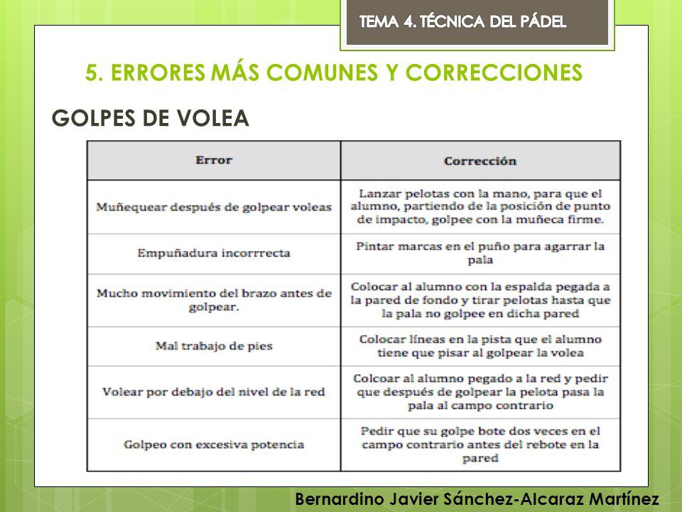 5. ERRORES MÁS COMUNES Y CORRECCIONES GOLPES DE VOLEA Bernardino Javier Sánchez-Alcaraz Martínez