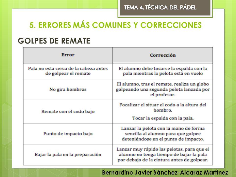 5. ERRORES MÁS COMUNES Y CORRECCIONES GOLPES DE REMATE Bernardino Javier Sánchez-Alcaraz Martínez