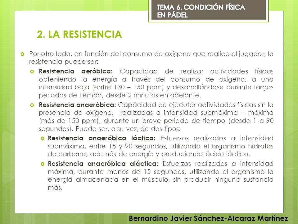 2. LA RESISTENCIA Por otro lado, en función del consumo de oxígeno que realice el jugador, la resistencia puede ser: Resistencia aeróbica: Capacidad d