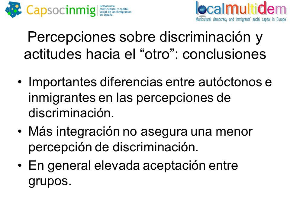 Percepciones sobre discriminación y actitudes hacia el otro: conclusiones Importantes diferencias entre autóctonos e inmigrantes en las percepciones de discriminación.