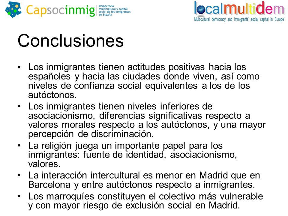 Conclusiones Los inmigrantes tienen actitudes positivas hacia los españoles y hacia las ciudades donde viven, así como niveles de confianza social equivalentes a los de los autóctonos.