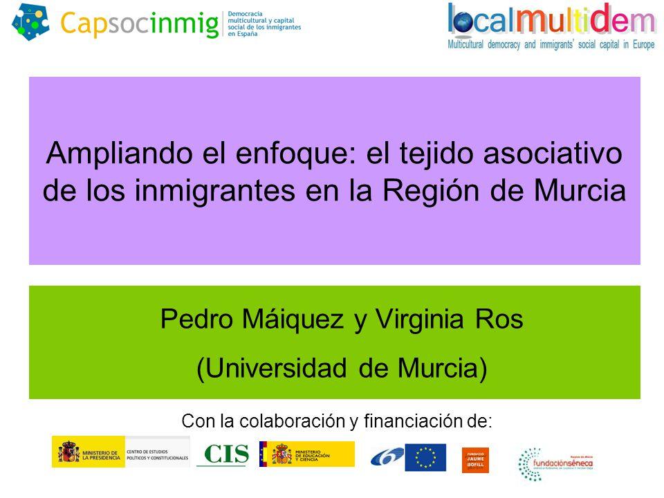 Ampliando el enfoque: el tejido asociativo de los inmigrantes en la Región de Murcia Pedro Máiquez y Virginia Ros (Universidad de Murcia) Con la colaboración y financiación de: