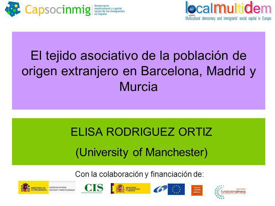 El tejido asociativo de la población de origen extranjero en Barcelona, Madrid y Murcia ELISA RODRIGUEZ ORTIZ (University of Manchester) Con la colaboración y financiación de: