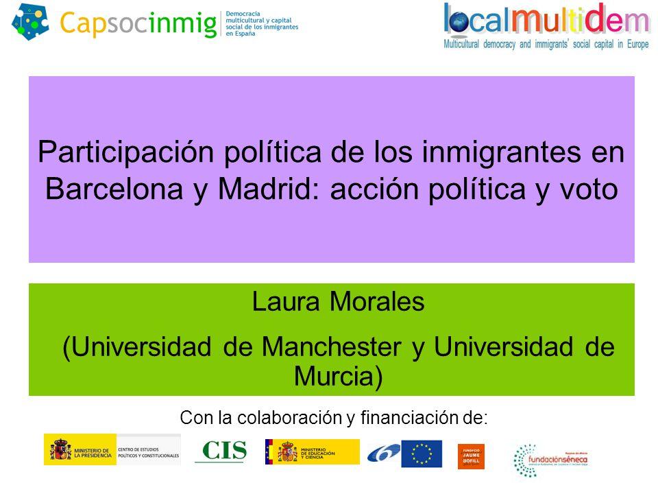 Participación política de los inmigrantes en Barcelona y Madrid: acción política y voto Laura Morales (Universidad de Manchester y Universidad de Murcia) Con la colaboración y financiación de: