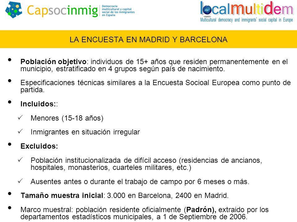 LA ENCUESTA EN MADRID Y BARCELONA Población objetivo: individuos de 15+ años que residen permanentemente en el municipio, estratificado en 4 grupos según país de nacimiento.