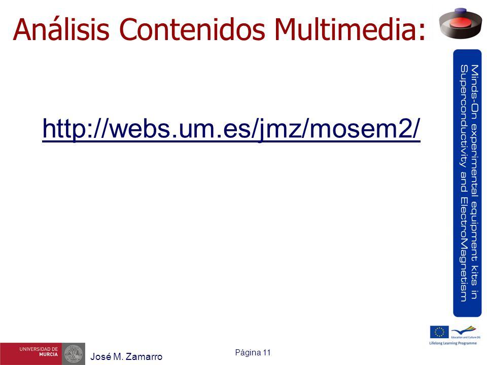 Página 11 José M. Zamarro Análisis Contenidos Multimedia: http://webs.um.es/jmz/mosem2/