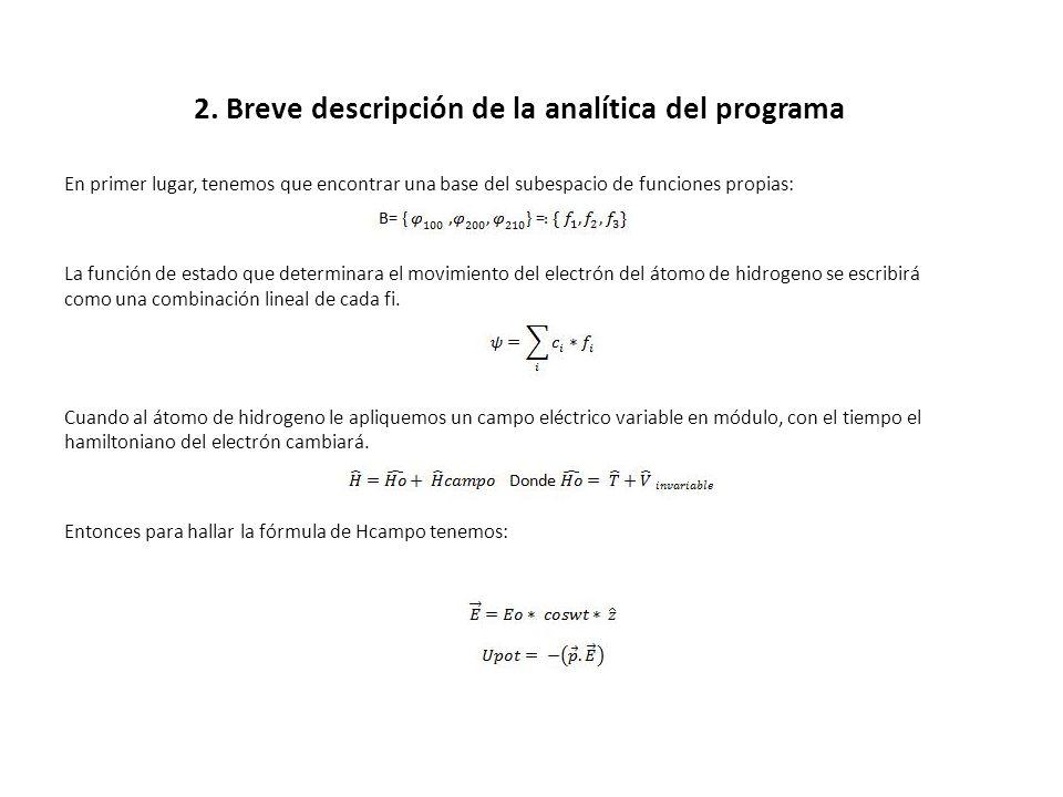 2. Breve descripción de la analítica del programa En primer lugar, tenemos que encontrar una base del subespacio de funciones propias: La función de e