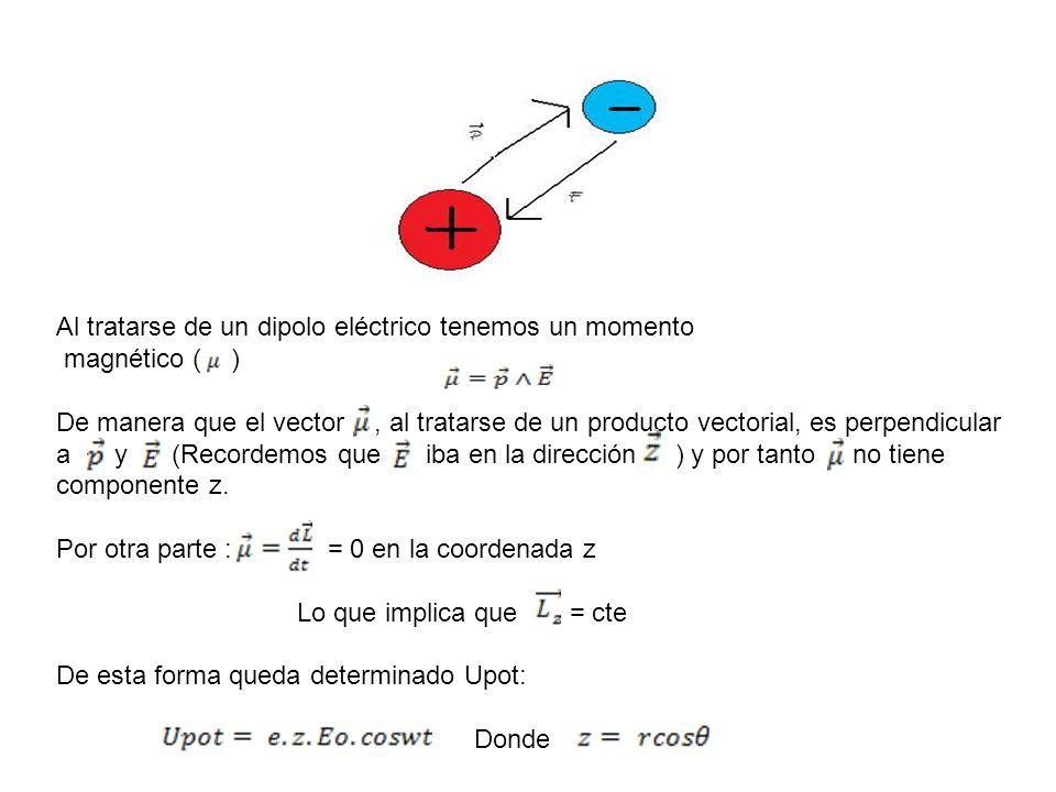 Al tratarse de un dipolo eléctrico tenemos un momento magnético ( ) De manera que el vector, al tratarse de un producto vectorial, es perpendicular a