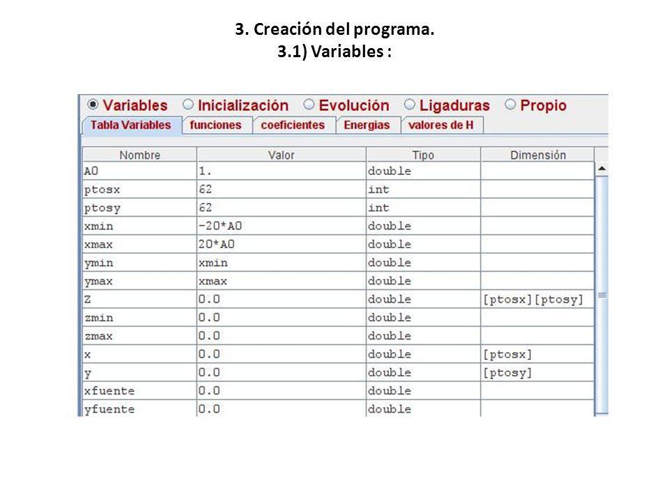 3. Creación del programa. 3.1) Variables :