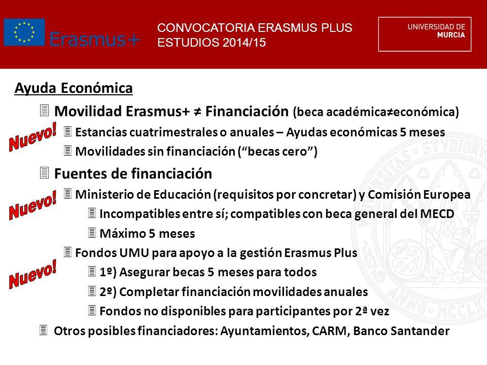 CONVOCATORIA ERASMUS PLUS ESTUDIOS 2014/15 Ayuda Económica 3Movilidad Erasmus+ Financiación (beca académicaeconómica) 3Estancias cuatrimestrales o anu
