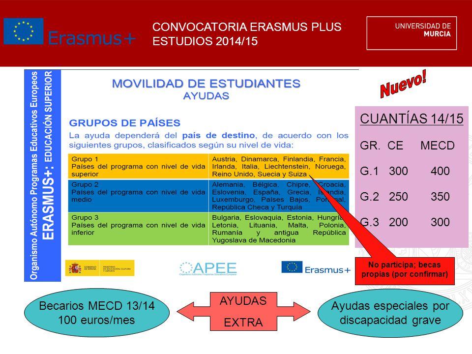 CONVOCATORIA ERASMUS PLUS ESTUDIOS 2014/15 CUANTÍAS 14/15 GR. CE MECD G.1 300400 G.2 250350 G.3 200300 AYUDAS EXTRA Becarios MECD 13/14 100 euros/mes