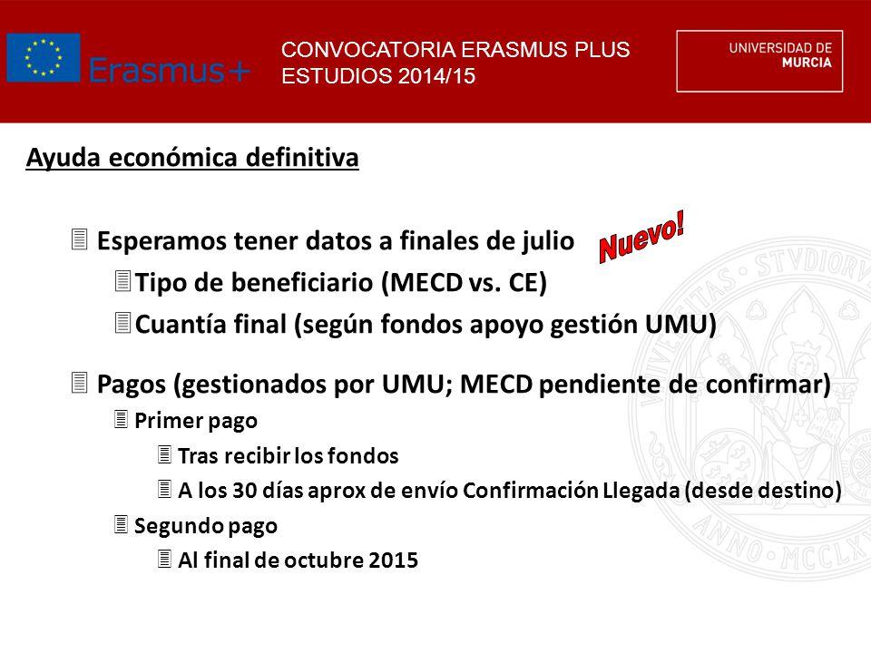 CONVOCATORIA ERASMUS PLUS ESTUDIOS 2014/15 Ayuda económica definitiva 3Esperamos tener datos a finales de julio 3Tipo de beneficiario (MECD vs. CE) 3C