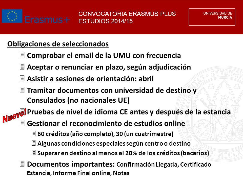 CONVOCATORIA ERASMUS PLUS ESTUDIOS 2014/15 Obligaciones de seleccionados 3Comprobar el email de la UMU con frecuencia 3Aceptar o renunciar en plazo, s