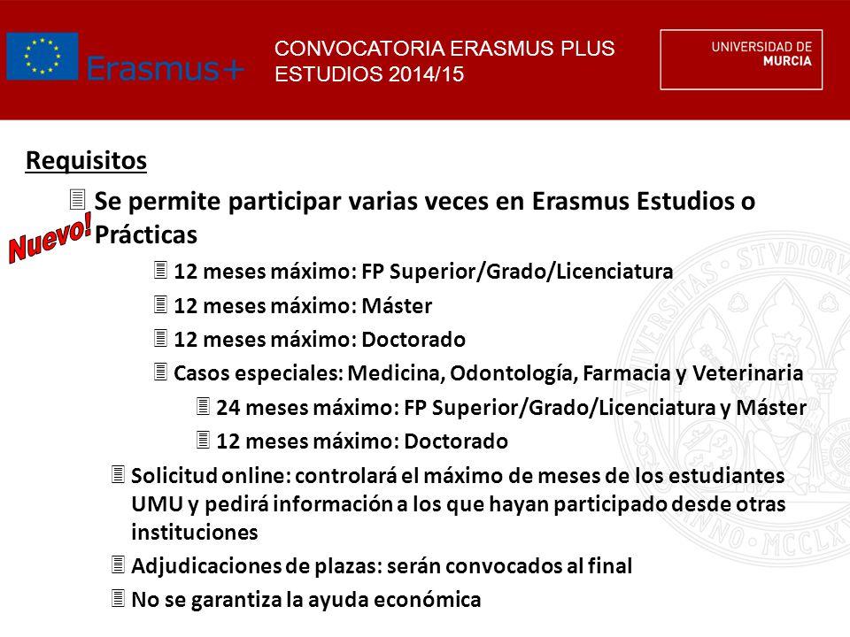Requisitos 3Se permite participar varias veces en Erasmus Estudios o Prácticas 312 meses máximo: FP Superior/Grado/Licenciatura 312 meses máximo: Mást