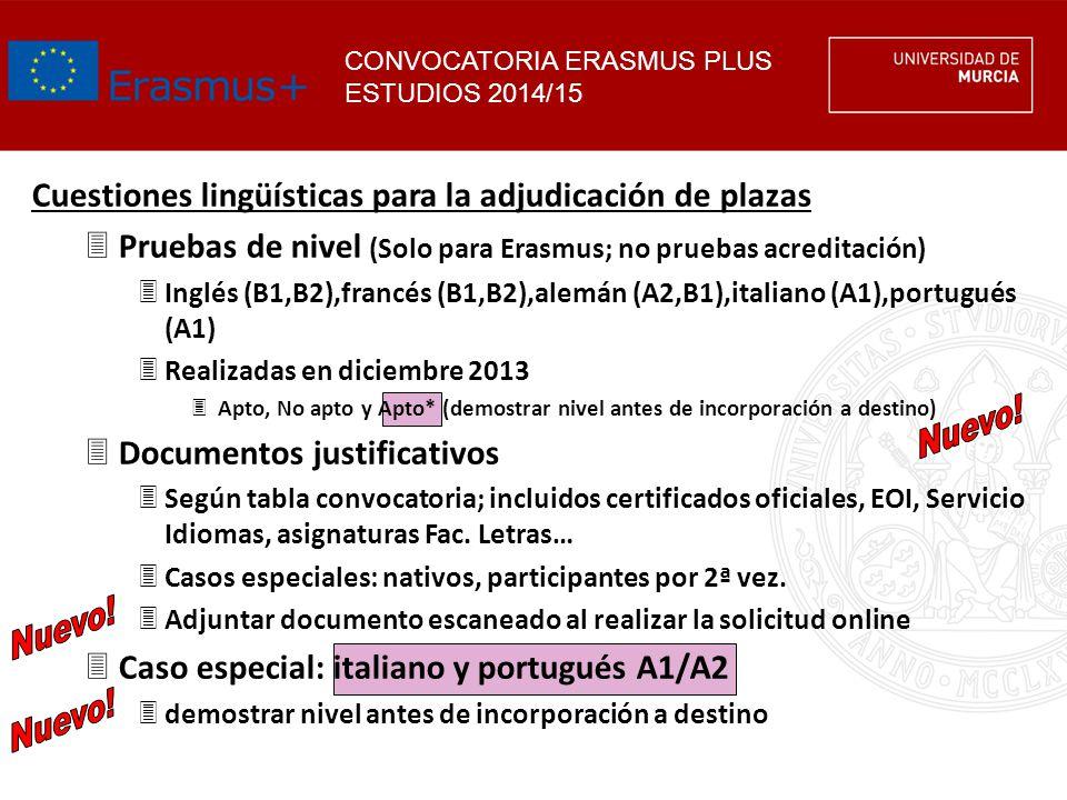 Cuestiones lingüísticas para la adjudicación de plazas 3Pruebas de nivel (Solo para Erasmus; no pruebas acreditación) 3Inglés (B1,B2),francés (B1,B2),